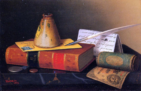 William Michael Harnett Still Life: Writing Table - Hand Painted Oil Painting