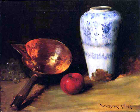 William Merritt Chase Still Life with China Vase, Copper Pot, an Apple and a Bunch of Grapes - Hand Painted Oil Painting