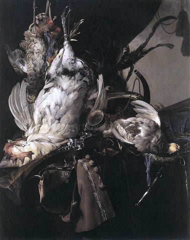Willem Van Aelst Still-Life of Dead Birds and Hunting Weapons - Hand Painted Oil Painting