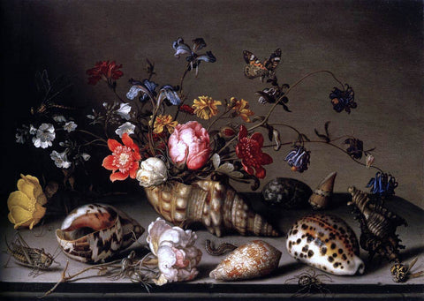 Balthasar Van der Ast Still-Life of Flowers, Shells, and Insects - Hand Painted Oil Painting