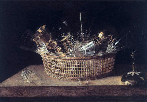 Sebastien Stoskopff Still-Life of Glasses in a Basket - Hand Painted Oil Painting