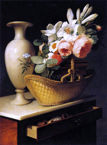 Antoine Berjon Still-Life with a Basket of Flowers - Hand Painted Oil Painting
