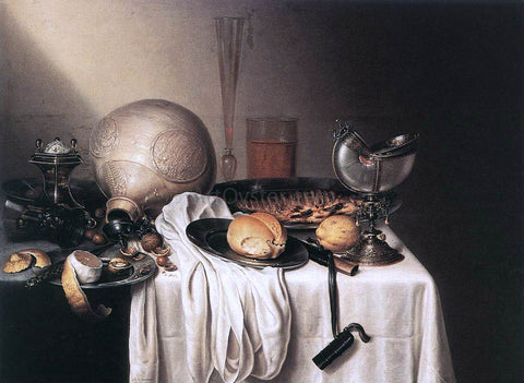 Maerten Boelema De Stomme Still-Life with a Bearded Man Crock and a Nautilus Shell Cup - Hand Painted Oil Painting