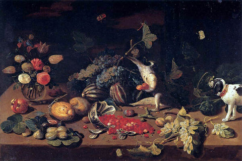 Jan Van I Kessel Still-Life with a Monkey Stealing Fruit - Hand Painted Oil Painting