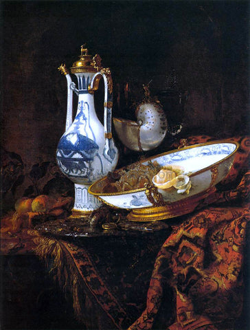 Willem Kalf Still-Life with an Aquamanile, Fruit, and a Nautilus Cup - Hand Painted Oil Painting