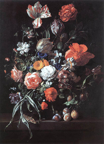 Rachel Ruysch Still-Life with Bouquet of Flowers and Plums - Hand Painted Oil Painting