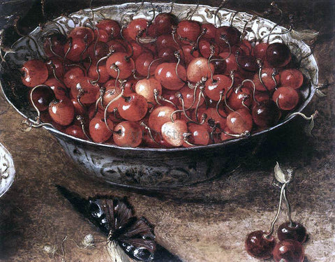 Osias Beert Still-Life with Cherries and Strawberries in China Bowls (detail) - Hand Painted Oil Painting