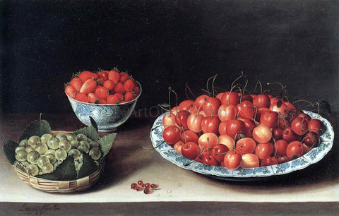 Louise Moillon Still-Life with Cherries, Strawberries and Gooseberries - Hand Painted Oil Painting