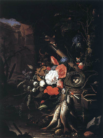 Abraham Mignon Still-Life with Fishes and Bird Nest - Hand Painted Oil Painting