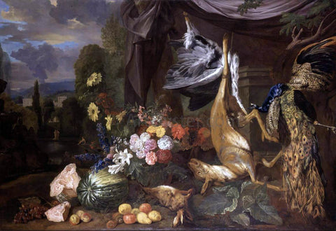 Pieter Andreas Rysbrack Still-Life with Flowers and Fowl - Hand Painted Oil Painting