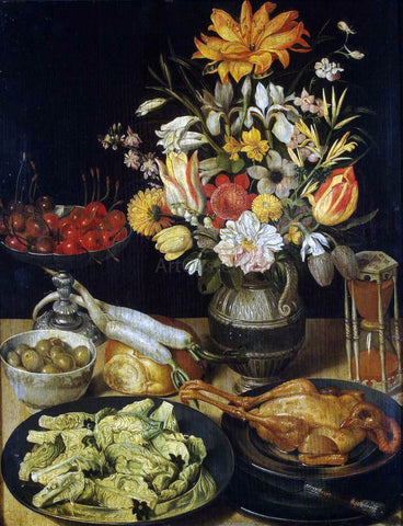 Georg Flegel Still-Life with Flowers and Snacks - Hand Painted Oil Painting