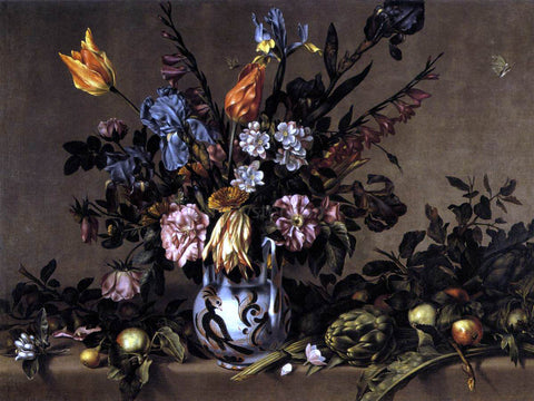 Antonio Ponce Still-Life with Flowers, Artichokes and Fruit - Hand Painted Oil Painting
