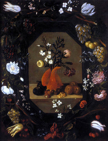Juan De Espinosa Still-Life with Flowers with a Garland of Fruit and Flowers - Hand Painted Oil Painting