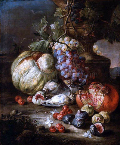 Giovanni Battista Ruoppolo Still-Life with Fruit and Dead Birds in a Landscape - Hand Painted Oil Painting