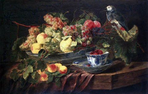 Jan Fyt Still-life with Fruits and Parrot - Hand Painted Oil Painting