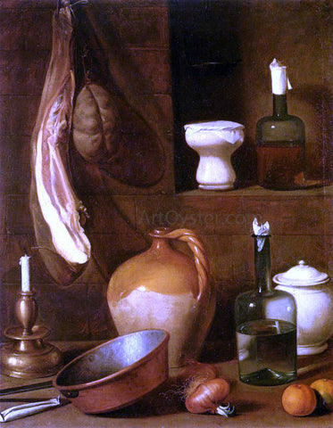 Carlo Magini Still-Life with Ham - Hand Painted Oil Painting