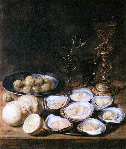 Alexander Adriaenssen Still-Life with Oysters - Hand Painted Oil Painting