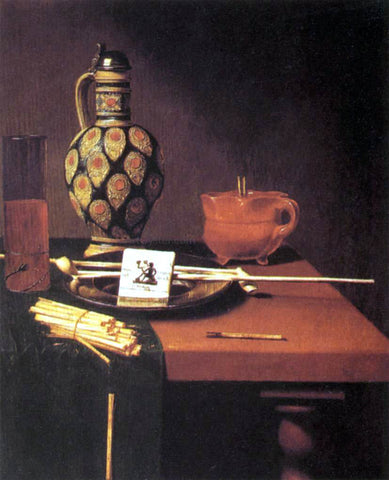Hubert Van Ravesteyn Still-Life with Porcelain Vase and Smoking Tools - Hand Painted Oil Painting