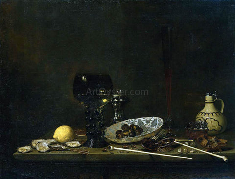 Jan Jansz Van de Velde Still-Life with Romer, Flute Glass, Earthenware Jug and Pipes - Hand Painted Oil Painting