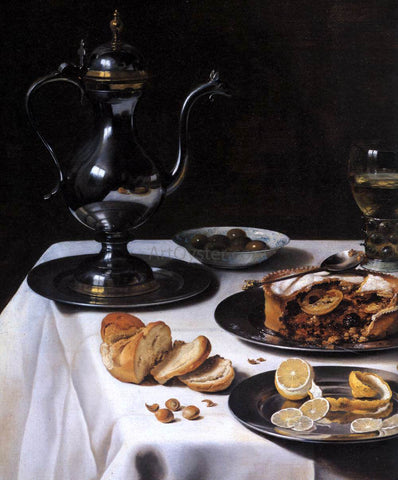 Pieter Claesz Still-life with Turkey-Pie (detail) - Hand Painted Oil Painting