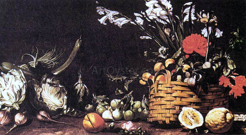 Tommaso Salini Still-Life with Vegetable, Fruit, and Flowers - Hand Painted Oil Painting