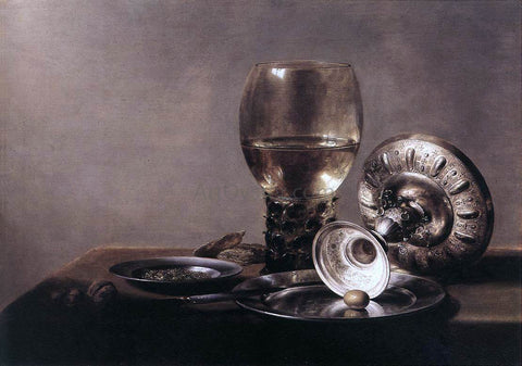 Pieter Claesz Still-life with Wine Glass and Silver Bowl - Hand Painted Oil Painting