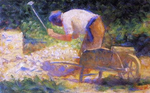 Georges Seurat A Stone Breaker and Wheelbarrow, Le Raincy - Hand Painted Oil Painting
