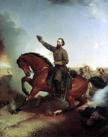 Louis-Mathieu-didier Guillaume Stonewall Jackson at the Battle of Winchester, Virginia - Hand Painted Oil Painting