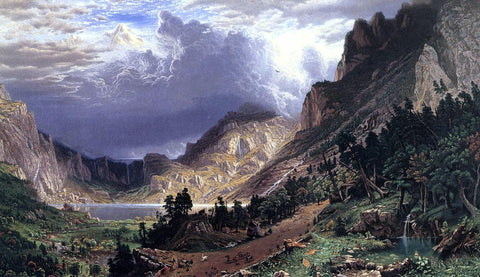 Albert Bierstadt Storm in the Rocky Mountains, Mt. Rosalie - Hand Painted Oil Painting