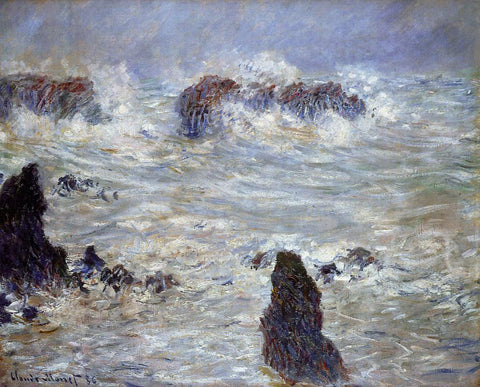 Claude Oscar Monet Storm off the Belle-Ile Coast - Hand Painted Oil Painting