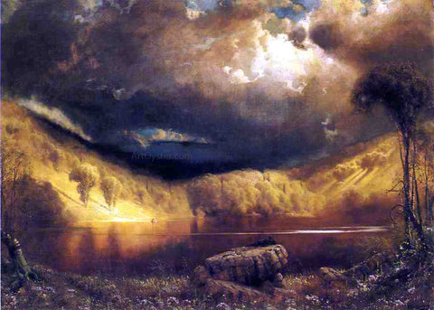 James Fairman Stormy Skies Above Echo Lake, White Mountains - Hand Painted Oil Painting
