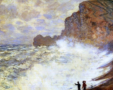 Claude Oscar Monet Stormy Weather at Etretat - Hand Painted Oil Painting