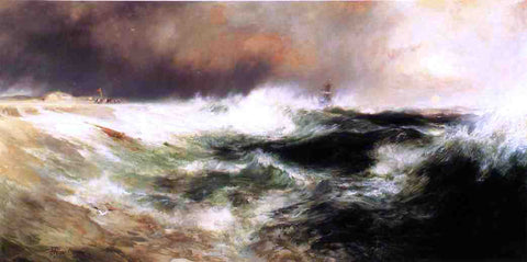 Thomas Moran Stranded Ship on East Hampton Beach - Hand Painted Oil Painting