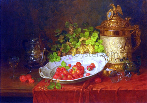 Carl Thoma-Hofele Strawberries, Grapes and an Ornamental Jug on a Draped Table - Hand Painted Oil Painting