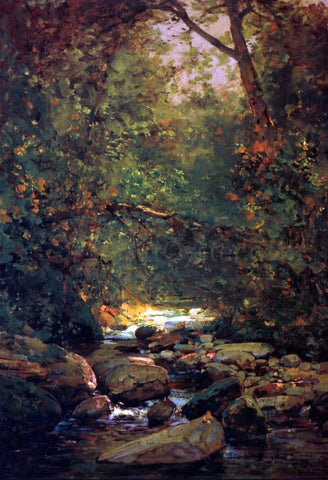 Thomas Hill Stream in Forest Winter - Hand Painted Oil Painting