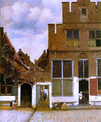 Johannes Vermeer Street in Delft - Hand Painted Oil Painting
