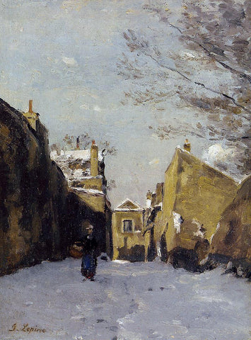 Stanislas Lepine Street in Montmartre, Snow Effect - Hand Painted Oil Painting