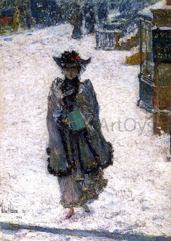 Frederick Childe Hassam Street Scene, Christmas Morning - Hand Painted Oil Painting