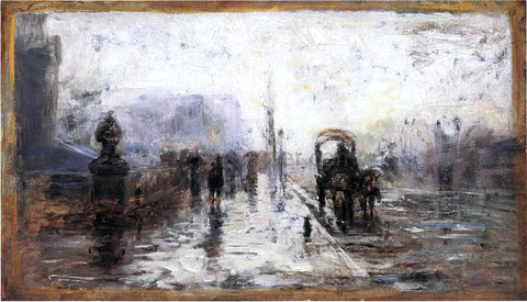 Theodore Clement Steele Street Scene with Carriage - Hand Painted Oil Painting