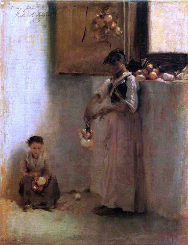John Singer Sargent Stringing Onions - Hand Painted Oil Painting