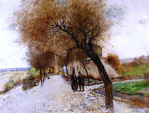 Jean-Francois Raffaelli Strollers Leaving a Village - Hand Painted Oil Painting
