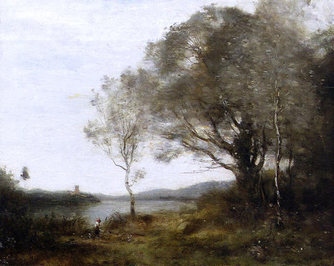 Jean-Baptiste-Camille Corot Strolling Along the Banks of a Pond - Hand Painted Oil Painting