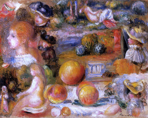 Pierre Auguste Renoir Studies: Woman's Heads, Nudes, Landscapes and Peaches - Hand Painted Oil Painting