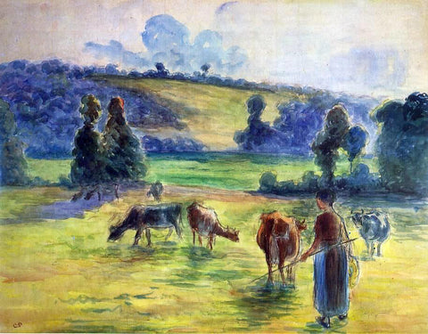 Camille Pissarro Study for 'Cowherd at Eragny' - Hand Painted Oil Painting