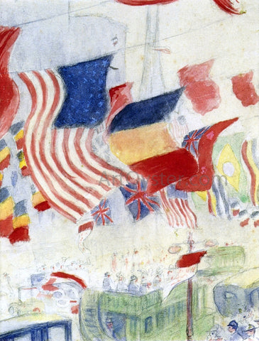 Theodore Earl Butler Study for Flags - Hand Painted Oil Painting