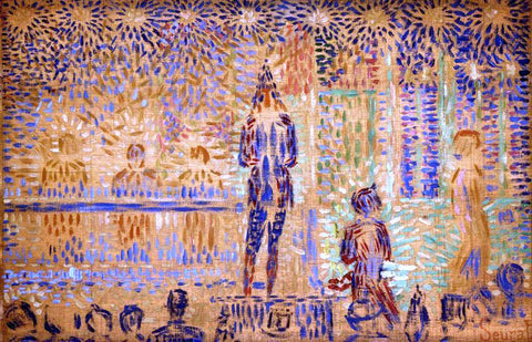 Georges Seurat Study for 'Invitation to the Sideshow' - Hand Painted Oil Painting