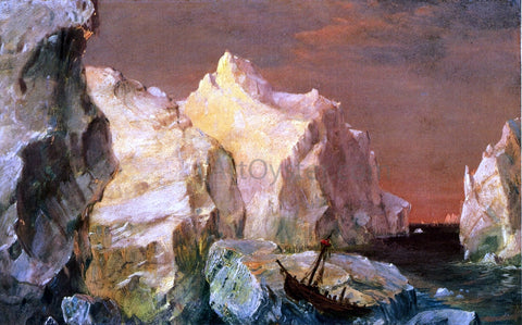 "Frederic Edwin Church Study for ""The Icebergs"" - Hand Painted Oil Painting"