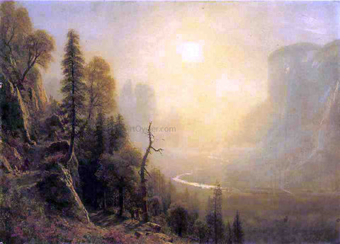 "Albert Bierstadt Study for ""Yosemite Valley, Glacier Point Trail"" - Hand Painted Oil Painting"