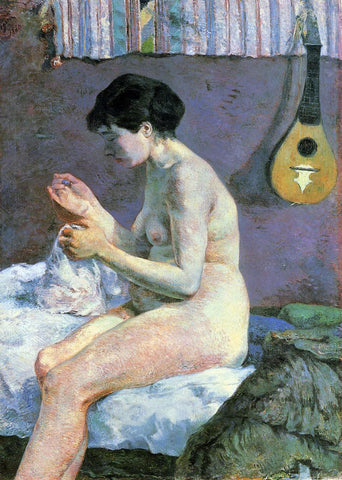 Paul Gauguin Study of a Nude, Suzanne Sewing - Hand Painted Oil Painting