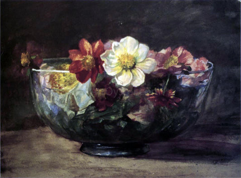 John La Farge Study of Autumn Flowers in Persian Glass Bowl with White Enamel Edge - Hand Painted Oil Painting